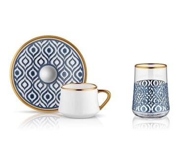 Koleksiyon Sufi İkat Antrasit Premium 6 Lı Kahve Seti Ve Bardağı Antrasit